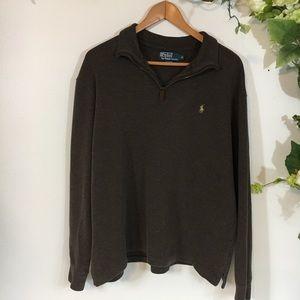 Polo Ralph Lauren Brown Quarter Zip  Sweater Sz XL